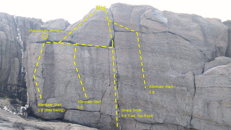 The obvious vertical crack passing two horizontal cracks finishing a foot right of the bolt anchor.<br> <br> Three alternate starts available if you manage the swing potential.