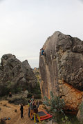 Rock Climbing Photo: Making the easier transition onto the lower angle ...