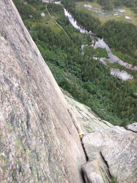 Rock Climbing Photo: Megan peeking around the cruxy lip