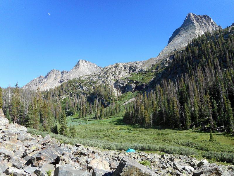 Campsite in Vestal Basin, below Vestal peak, with the Trinity peaks in the background.