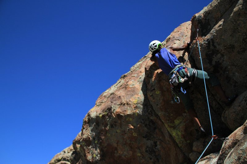 Crux move, hand crack after clipping high.
