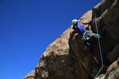 Rock Climbing Photo: Crux move, hand crack after clipping high.