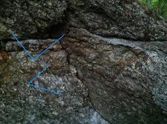 Rock Climbing Photo: A closer look at the start. The original start hol...