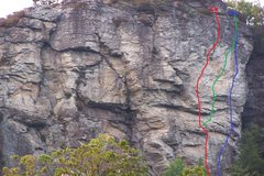 Rock Climbing Photo: The trio of routes. Line in green.