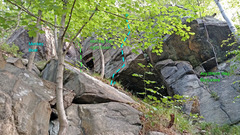 Rock Climbing Photo: Monkey Bar + upper Giving Tree from below South: ....