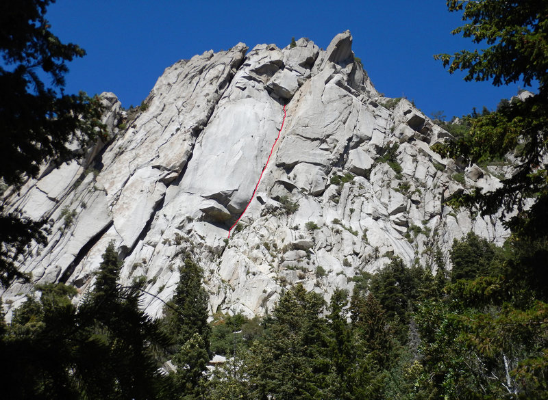 Rock Climbing Photo: The first 4 pitches (2 long pitches) to the roof w...