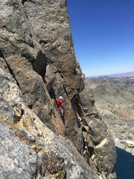 Rock Climbing Photo: My partner after the airy 5.8 traverse starting up...