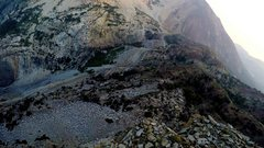 Rock Climbing Photo: 1000ft downhill view to the Tioga Road from the Th...