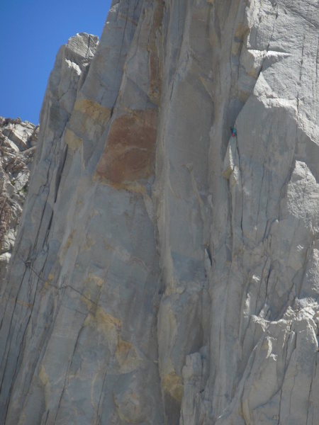 &quot@SEMICOLON@Pink Pants&quot@SEMICOLON@ group at the classic arete belay ledge on Positive Vibes.