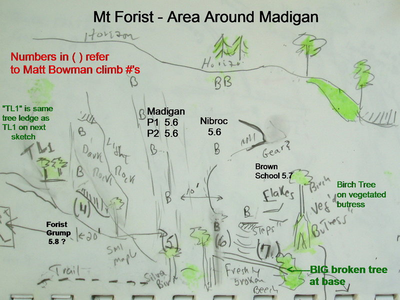 Sketch/Topo of area around the climb Madigan