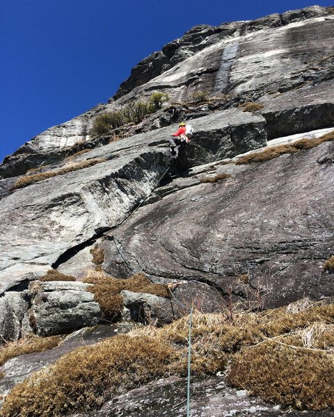 Rock Climbing Photo: Pulling the roof at the top of the corner on pitch...