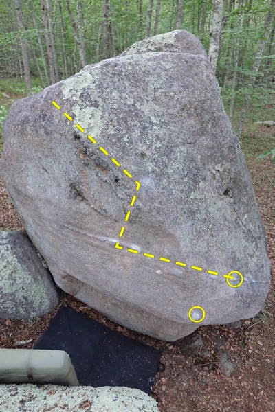 A nice V3? a few minutes north of the Dance Hall boulder.