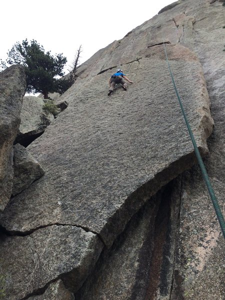 Slava linking the slab into Thindependence on toprope, a 70m rope.