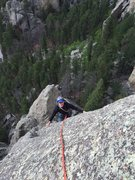 Rock Climbing Photo: My buddy Tony topping out on Dire Spire.
