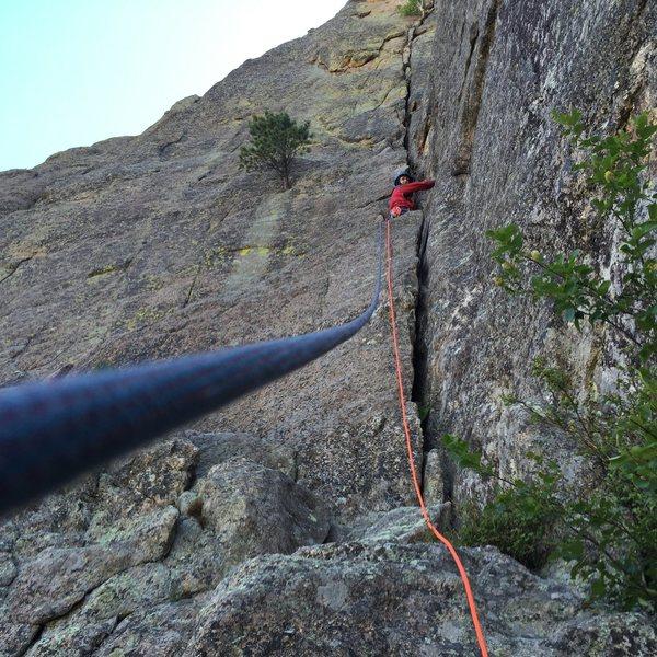 Rock Climbing Photo: Tony leading pitch 2
