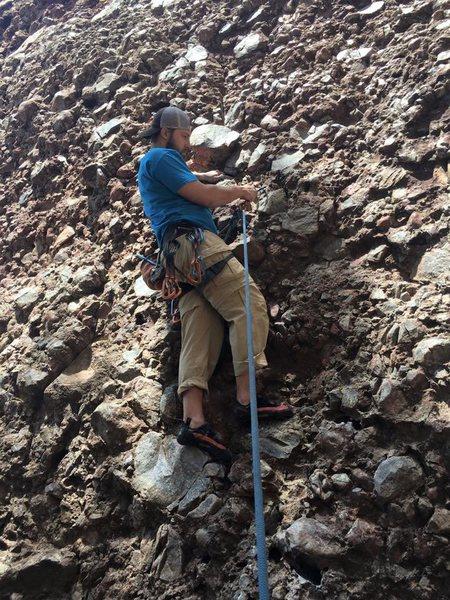 Rock Climbing Photo: Warming up on school house slab