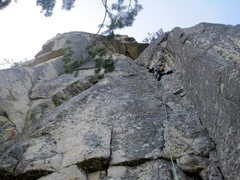 Rock Climbing Photo: Looking up at pitch 1 from start ledge, with hollo...