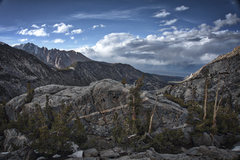 Rock Climbing Photo: Rain in the Owens Valley, sun on the Cardinal - as...