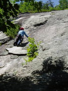 Rock Climbing Photo: RW on the white flake of The Green Mile (The climb...