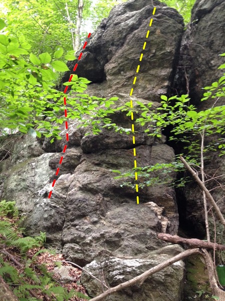 fun and easy but very hollow rock with bad landing