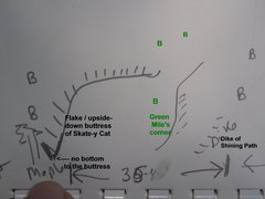 Rock Climbing Photo: Sketch of area around The Green Mile