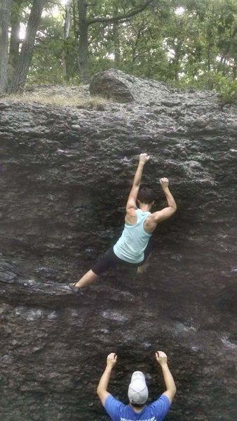 Rock Climbing Photo: Over Easy (V2) at Hammond Pond