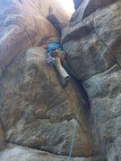 John working his way up through the crux!