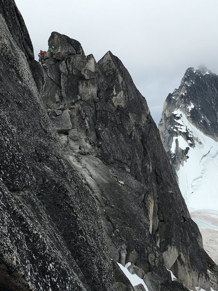 Rock Climbing Photo: Low fifth class down climb from second summit to c...