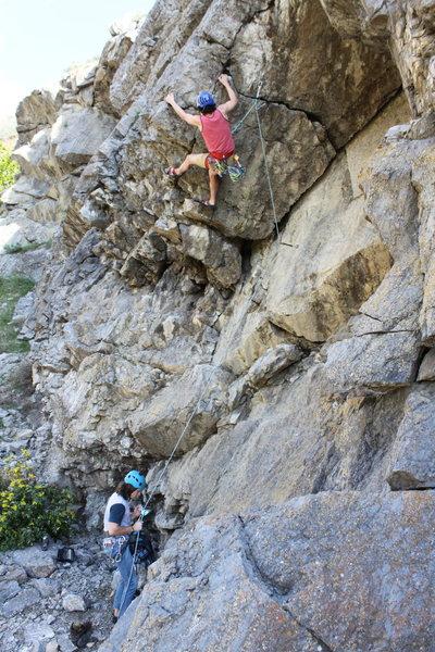 Rock Climbing Photo: Kiefer giving it his best shot.