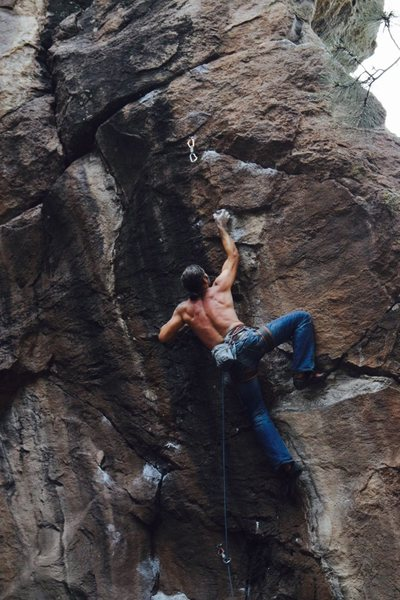 Rock Climbing Photo: Darren sticking the second crux move Photo credit:...