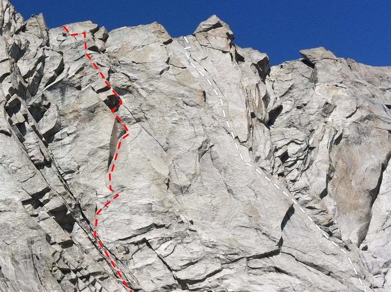 South Face Wolfshead, Cirque of Towers: Red=Red Cloud. White=White Buffalo