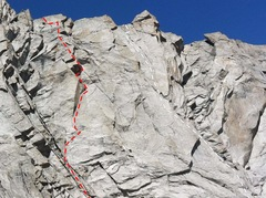 Rock Climbing Photo: South Face Wolfshead, Cirque of Towers: Red=Red Cl...