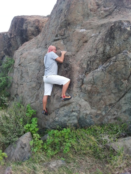 Paolo on a boulder
