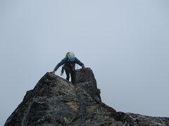 Just below the summit block of Mt. Challenger