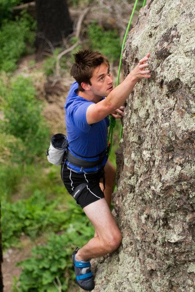 Matt heading up one of his first outdoor climbs.