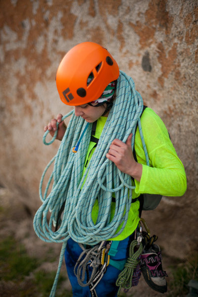 Carla working on her rope coil