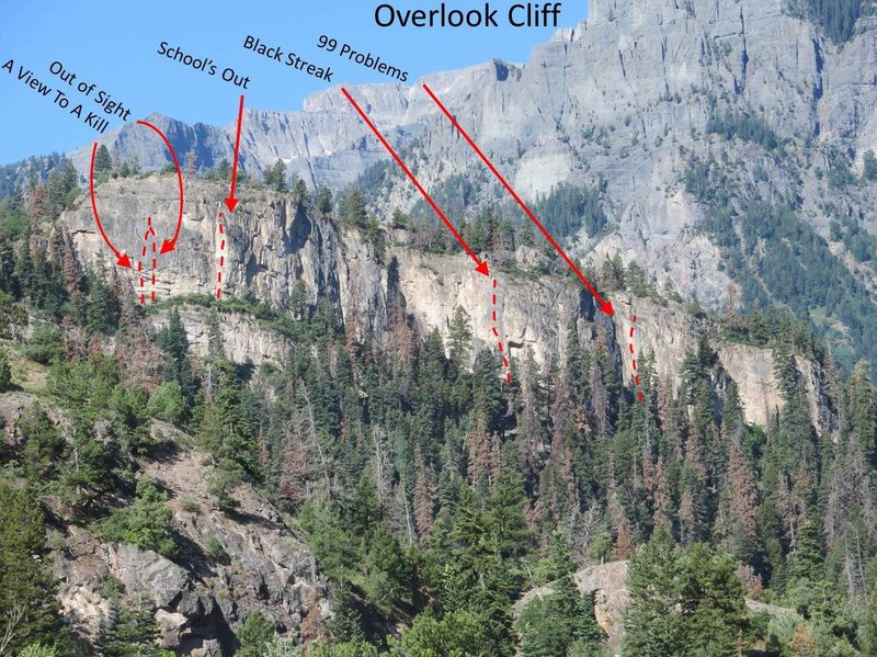 Overlook Cliff with a few routes marked (approximately).  This pic was taken from near the Baby Bathtubs Trailhead.