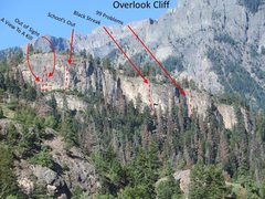 Rock Climbing Photo: Overlook Cliff with a few routes marked (approxima...