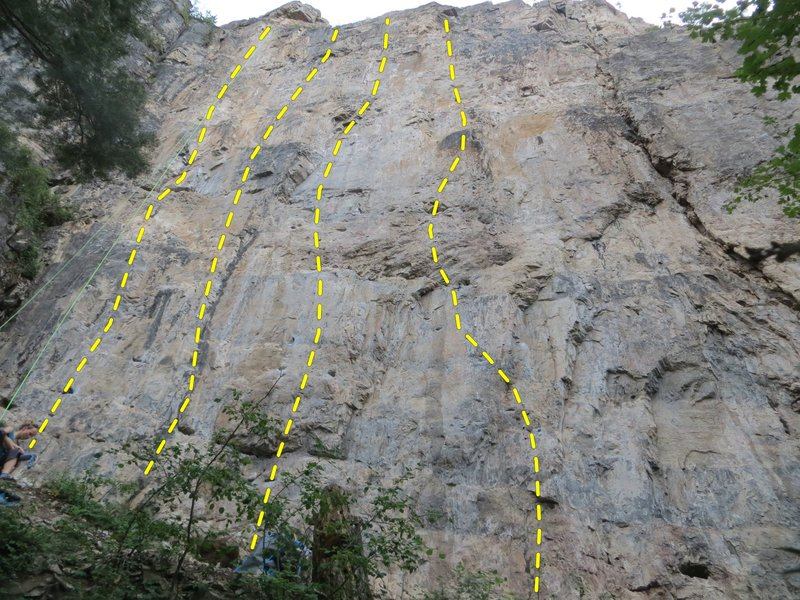 The left half of the Guide&#39;s Wall.  Routes R to L:<br> <br> Jay&#39;s Route, 10c.<br> 99 Problems, 12a.<br> Out of Pocket, 11d.<br> Oh Boy Oh Boy, 12b.