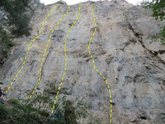 Rock Climbing Photo: The left half of the Guide's Wall.  Routes R t...