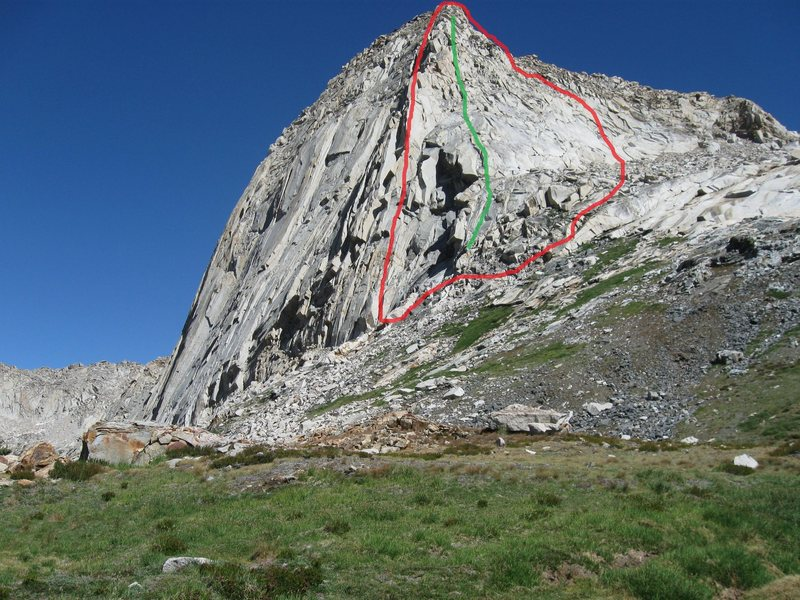 Best guess is the Beckey party climbed roughly along the green line and if not, most likely within the area outlined in red. To the right of the photo is Granite Pass, down and left is Spring Lake.