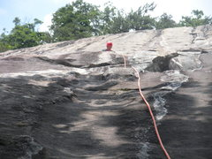 Rock Climbing Photo: Climber Joe H at the pitch #1 anchors.