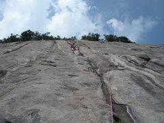 Rock Climbing Photo: Climber Joe H. at the pitch #2 anchors.  Limited g...
