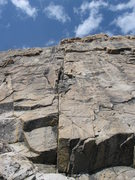 Rock Climbing Photo: Looking up the first two pitches of Tres Frijoles ...