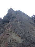 Rock Climbing Photo: Alex Barnett on his first lead climb. Good route t...