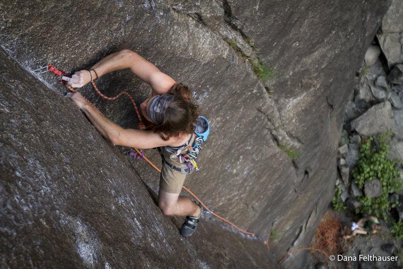 Fuck you, go climb something.<br> Dillon Vesper sending Guiding Light.<br> <br> Photo By www.danafelthauser.com