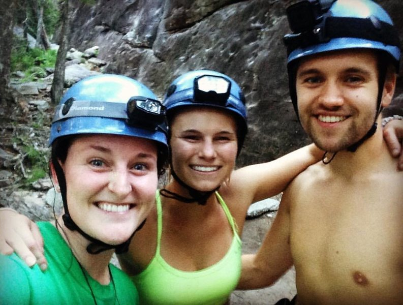First climb at Looking Glass Falls with these muppets :)