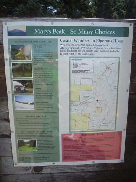 Mary's Peak interpretive sign.