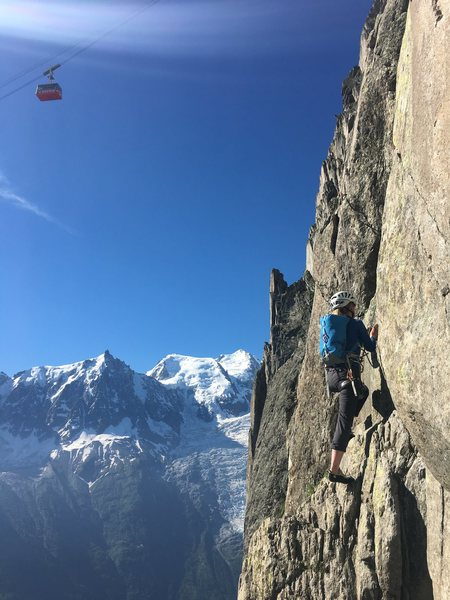 Rock Climbing Photo: Cable car access to the semi-alpine climbing of Le...