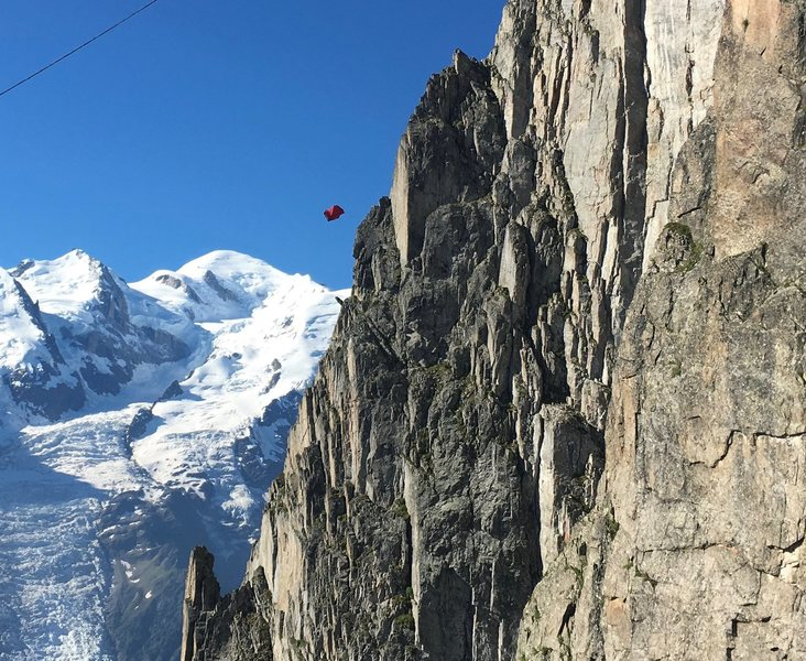 Rock Climbing Photo: Wingsuit jumpers are quite a distraction on Voie F...